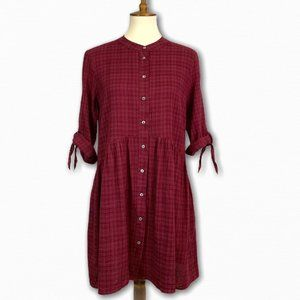 She + Sky Maroon Oversized Button Down Tunic Top S